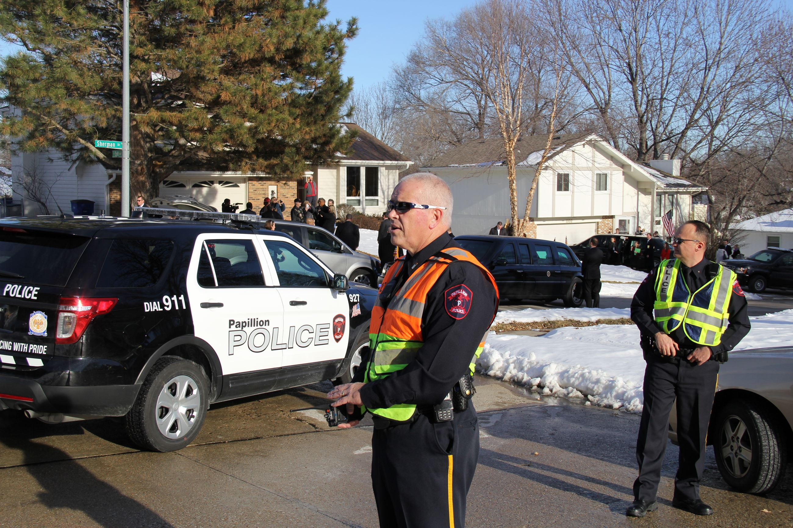 Papillion Police provide security support during a visit by President Obama.